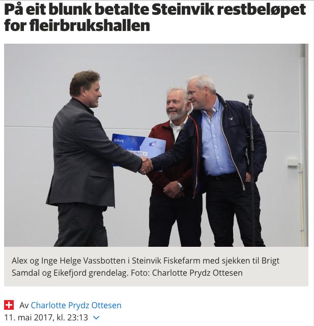 Steinvik gåve til fleirbrukshallen i Eikefjord